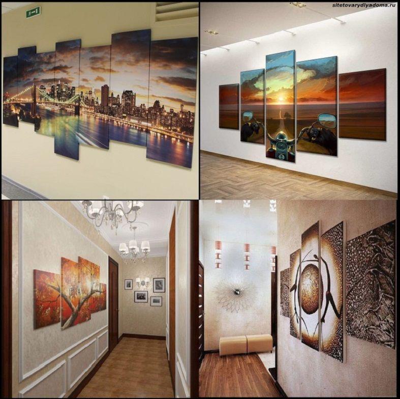 модульные картины для прихожей и коридора-фото