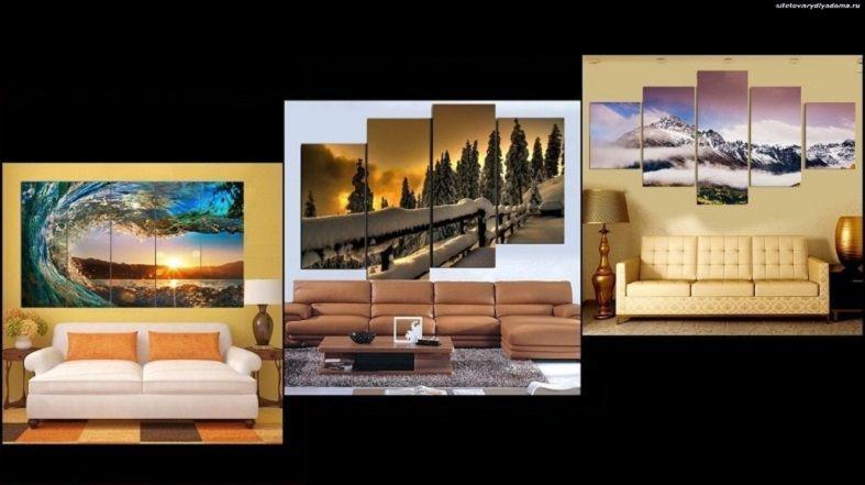 пример модульных картин с общей композицией-фото