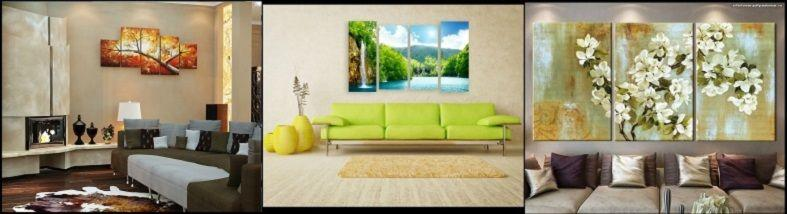 размещения модульных картин в интерьере гостиной