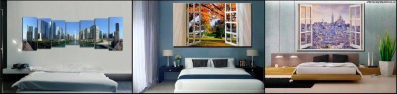 модульные картины в интерьере спальни-примеры