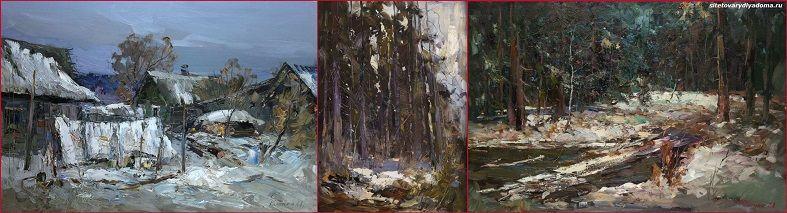 зимние пейзажи-живописец Колотилов