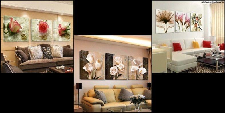 пример модульных картин с раздельной композицией-фото