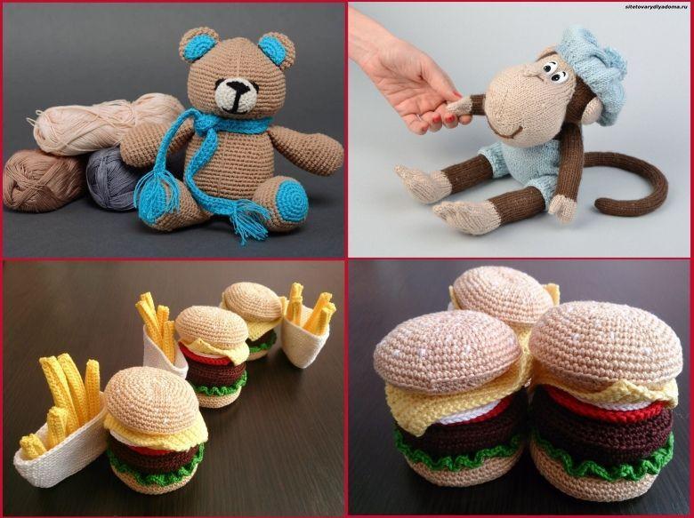 вязаные игрушки в интерьере-сайт товары для дома
