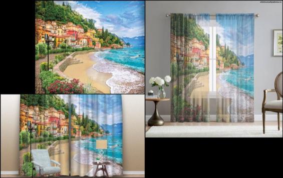 3 D шторы Берег Италии - на сайте товары для дома