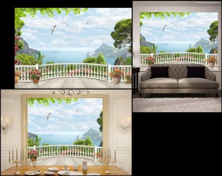 3Д фотообои Вид на залив с белого балкона сайт товары для дома