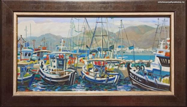 Картина художника Гилярова Греция.Порт Луксор Кефалония