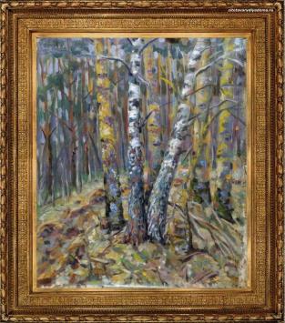 живопись А. Гилярова с берёзами–картина Пушкиногорье живописца