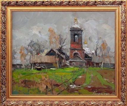 художник Колотилов-картина Село Озерецкое-о сельской жизни