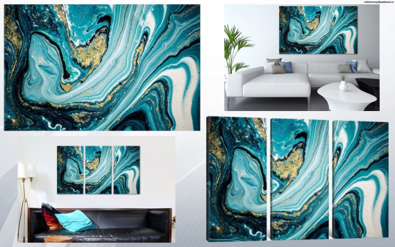 модульная картина Голубые флюиды - сайт товары для дома