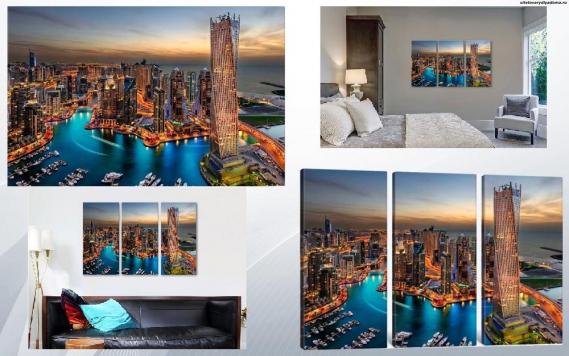 модульная картина Ночной Дубай - на сайте товары для дома