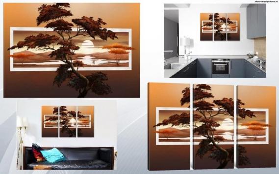 модульная картина Саванна на закате - на сайте товары для дома