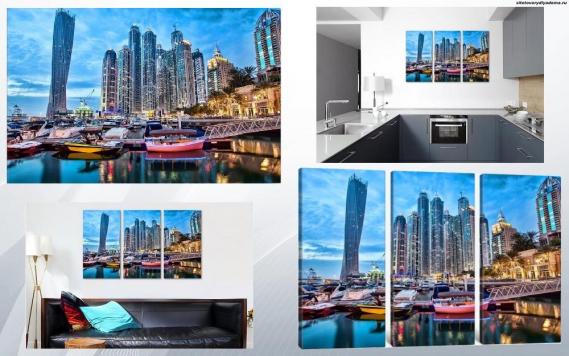 модульная картина Вечерний Дубай - на сайте товары для дома