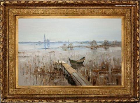 пейзаж Александра Колотилова-Октябрь Пристань-К096