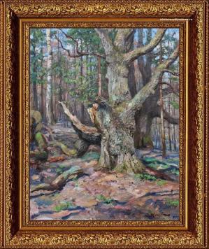 картина Сергея Жукова - Старый дуб.Апрель - пейзаж весенний