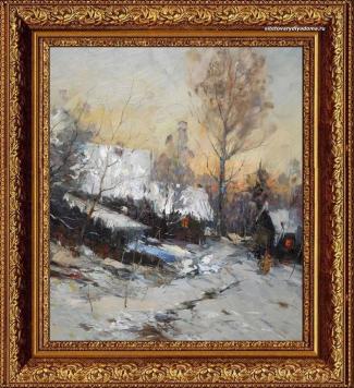 пейзаж зимы маслом-Февральский вечер-k058