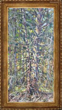 работа А. Гилярова – пейзаж Лес в апреле маслом на холсте
