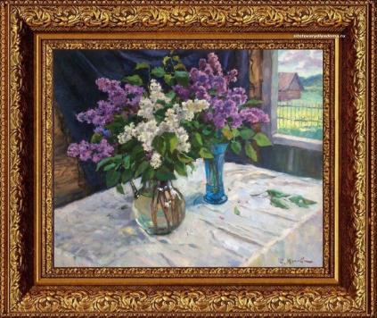 Картина С.Жукова в виде натюрморта «Букеты сирени»