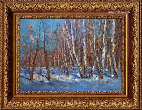 зимний пейзаж художника Колотилова-Русские берёзки-k055